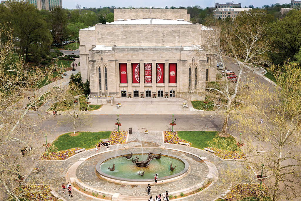The IU Auditorium on the campus of Indiana University in Bloomington.