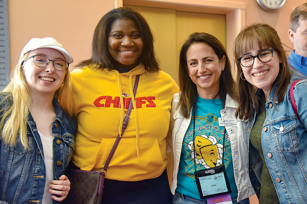 Thespians join Educational Theatre Association Executive Director Julie Cohen Theobald at the 2019 International Thespian Festival.