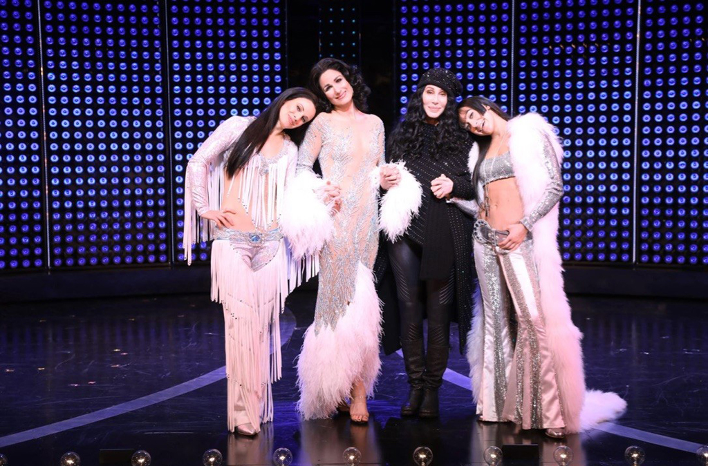 Cher (with Teal Wicks, Stephanie J. Block, and Micaela Diamond) onstage for opening night of The Cher Show.
