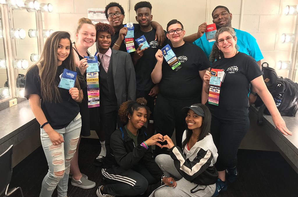 Thespian Troupe 6647 backstage at their student-directed Freestyle Theatre performance of Familial Ties at the 2019 International Thespian Festival.