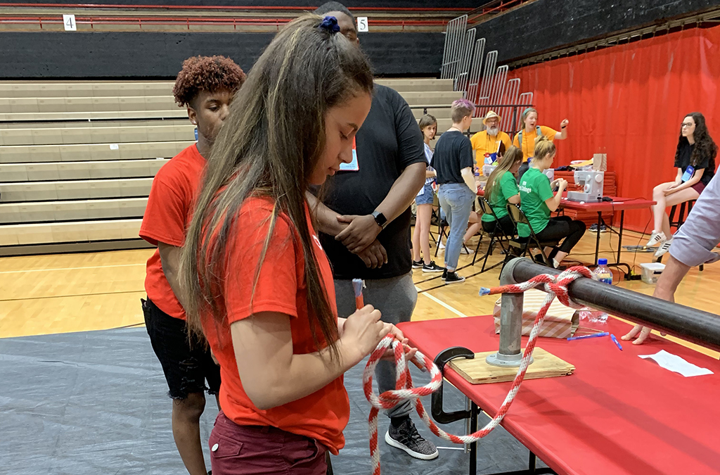 Knot tying was one of five tasks the Academy of the Pacific Rim Thespians conquered for the 2019 ITF Tech Challenge.