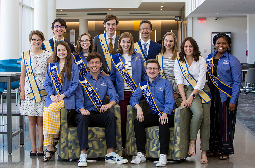 The newly elected 2019-20 International Thespian Officers join the previous class at the 2019 International Thespian Festival.