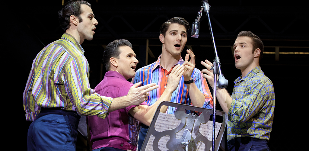 Mark Edwards, Aaron De Jesus, Austin Colby, and Sam Wolf in Jersey Boys.
