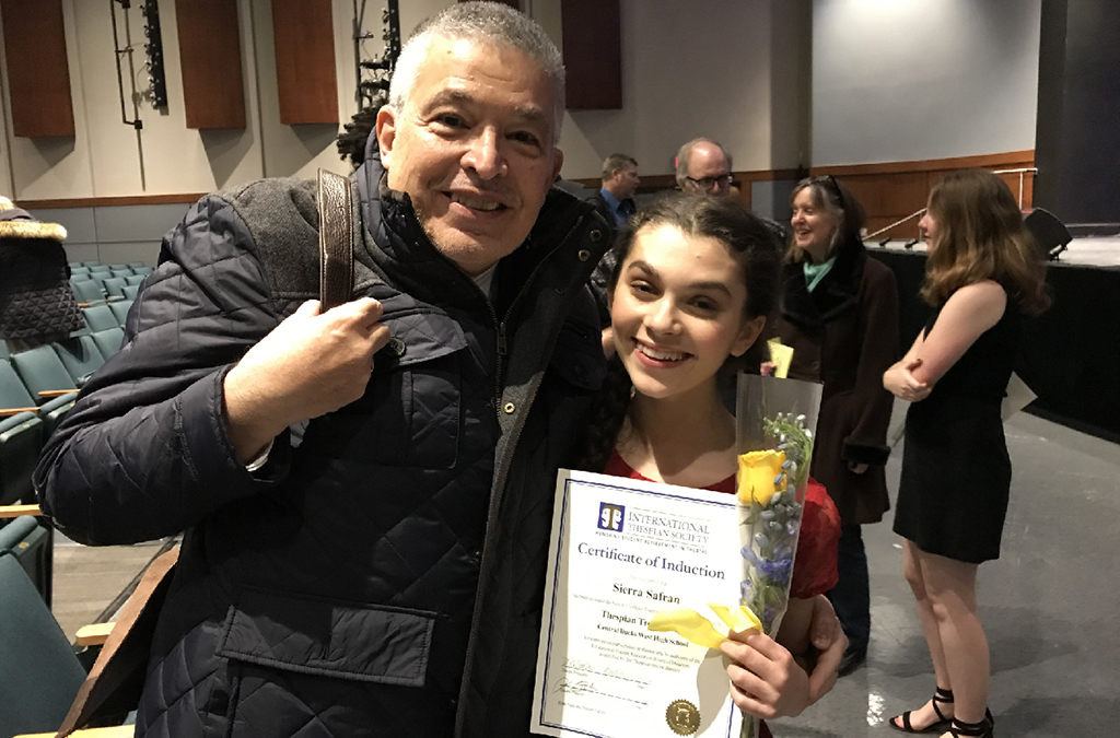 Sierra Safran with her International Thespian Society induction certificate and special ceremony guest, Lou Volpe.