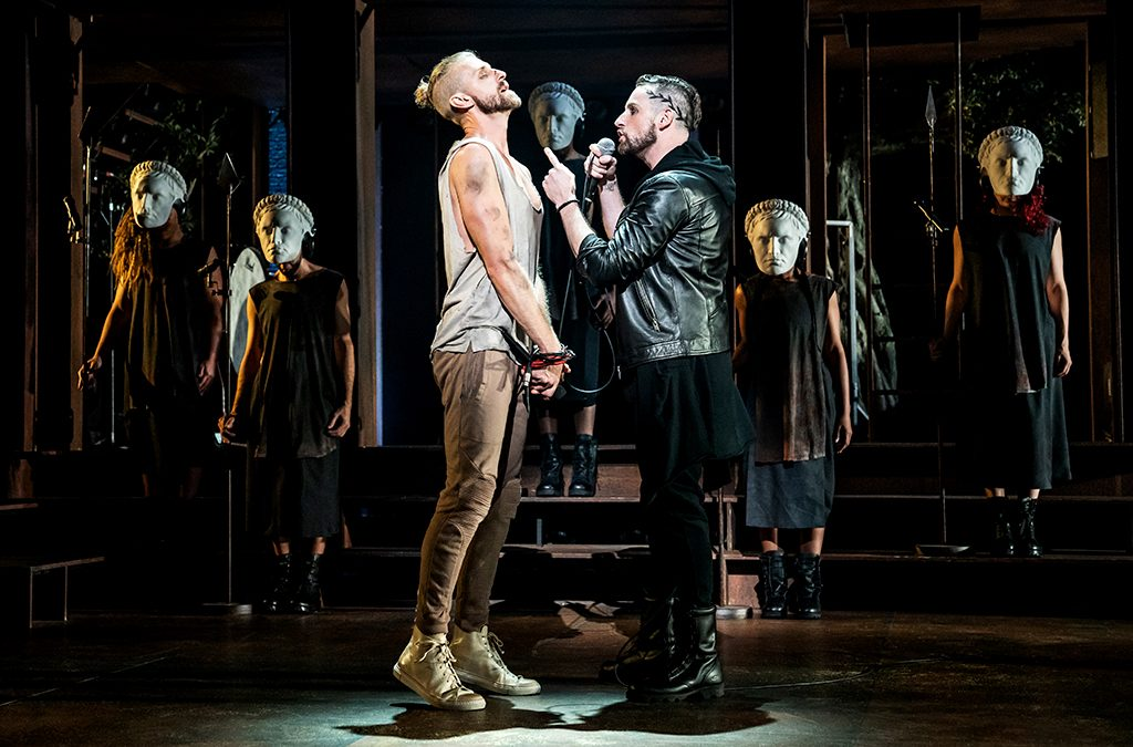 Aaron LaVigne, Tommy Sherlock, and the company of the North American tour of Jesus Christ Superstar.