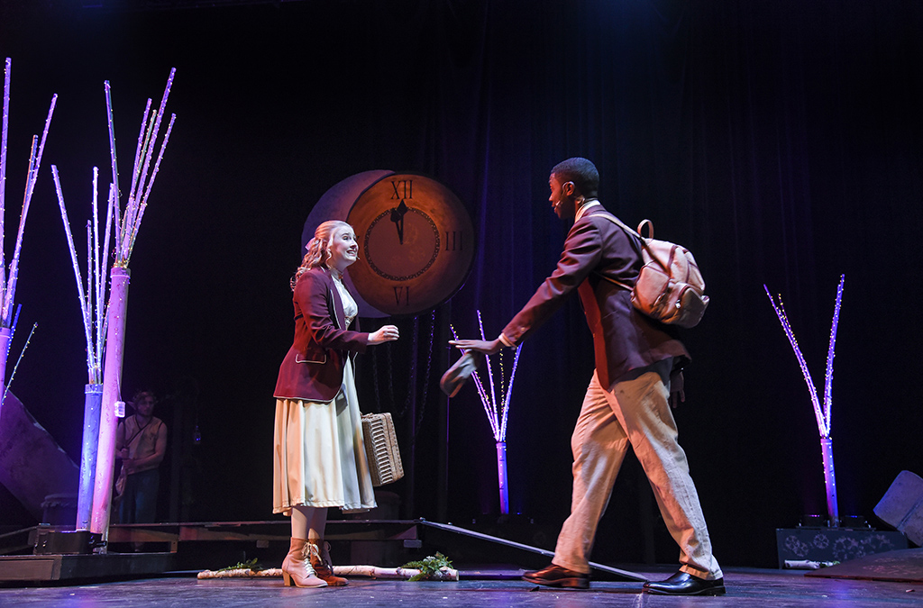 Molly Hofstaedter as Helena and Jaemon Crosby as Demetrius in the North Penn High School production of A Midsummer Night's Dream.