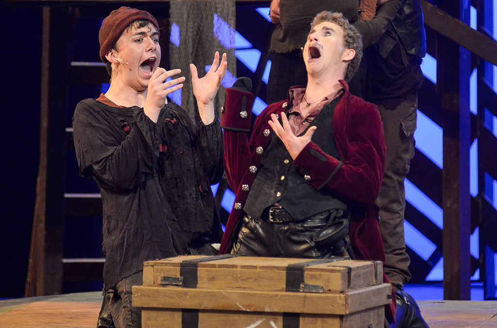 Andrew Spriggs (right) as Black Stache in the 2019 International Thespian Festival main stage production of Peter and the Starcatcher.