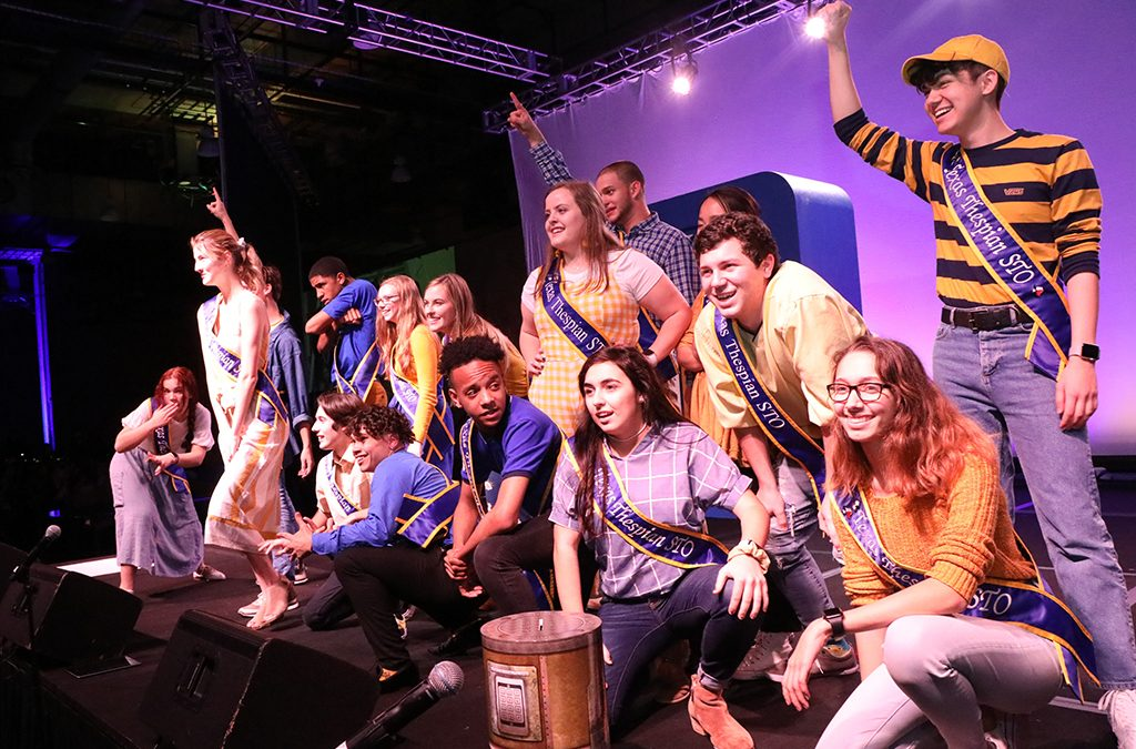 Texas Student Thespian Officers pump up the crowd at the 2019 chapter festival.