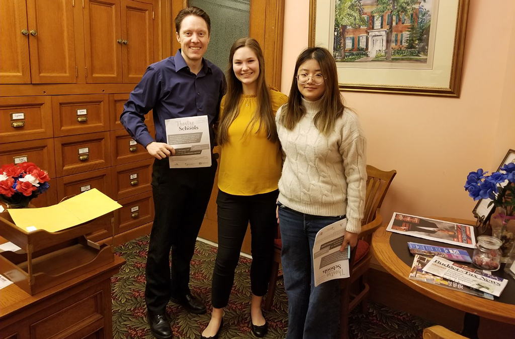 Thespians from Troupe 3156 visited with Legislative Aide Eric Connelly to promote Theatre in Our Schools Month in March 2019.