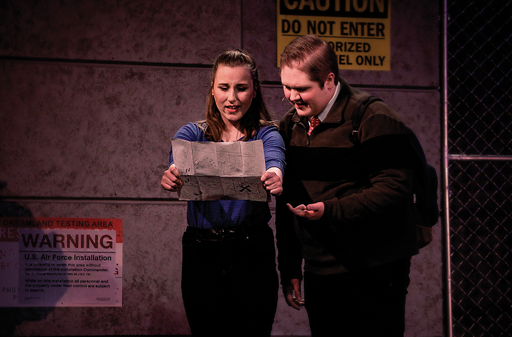 Courtney White as Aurora and Jacob Sweet as Eliot in the Salina South High School production of Dreamland.