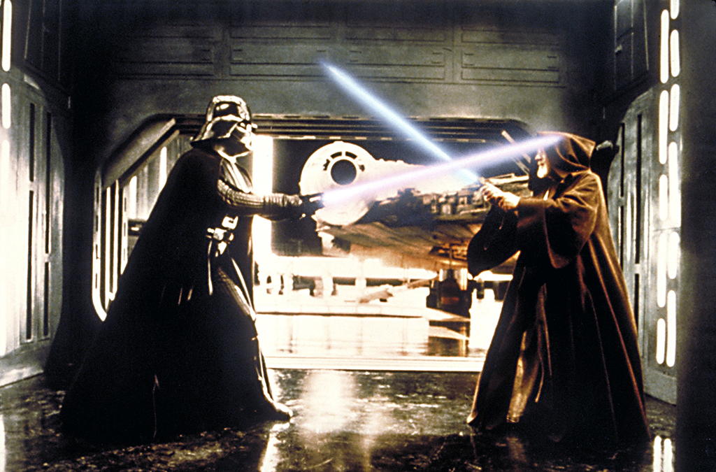 David Prowse and Alec Guinness in Star Wars.