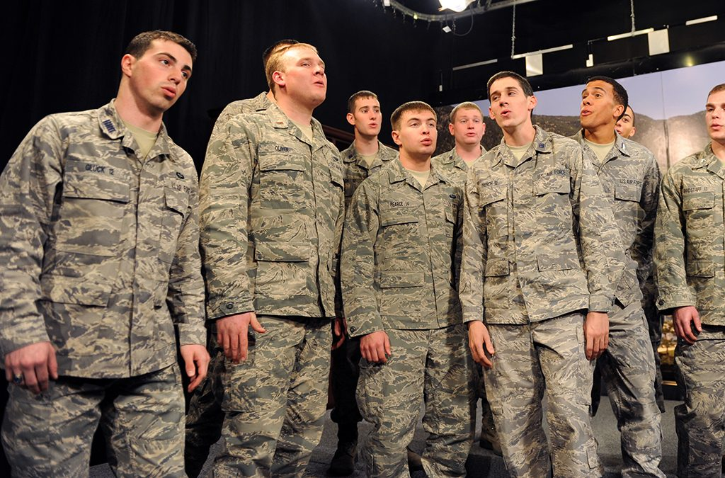 Julian Gluck (far left) with the a cappella group In the Stairwell. Photo courtesy of the United States Air Force Academy.