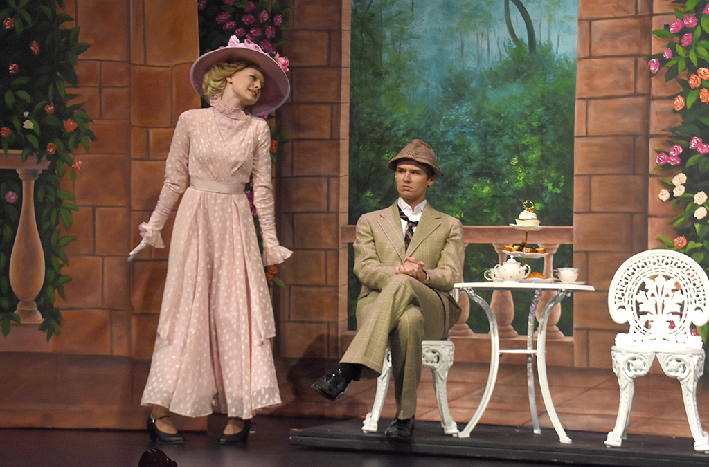 Eliza (Shelby Brown) lets Henry (Troy Jones) know she can do just fine on her own in the New Albany High School production of My Fair Lady.