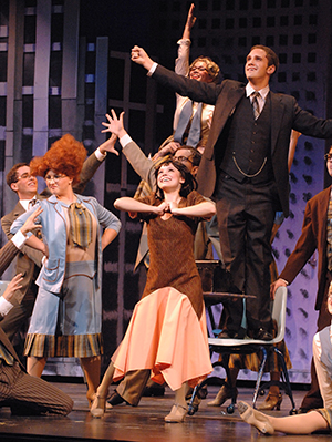 Amy Miller (front left) as Miss Flannery in the ITF national cast production of Thoroughly Modern Millie.