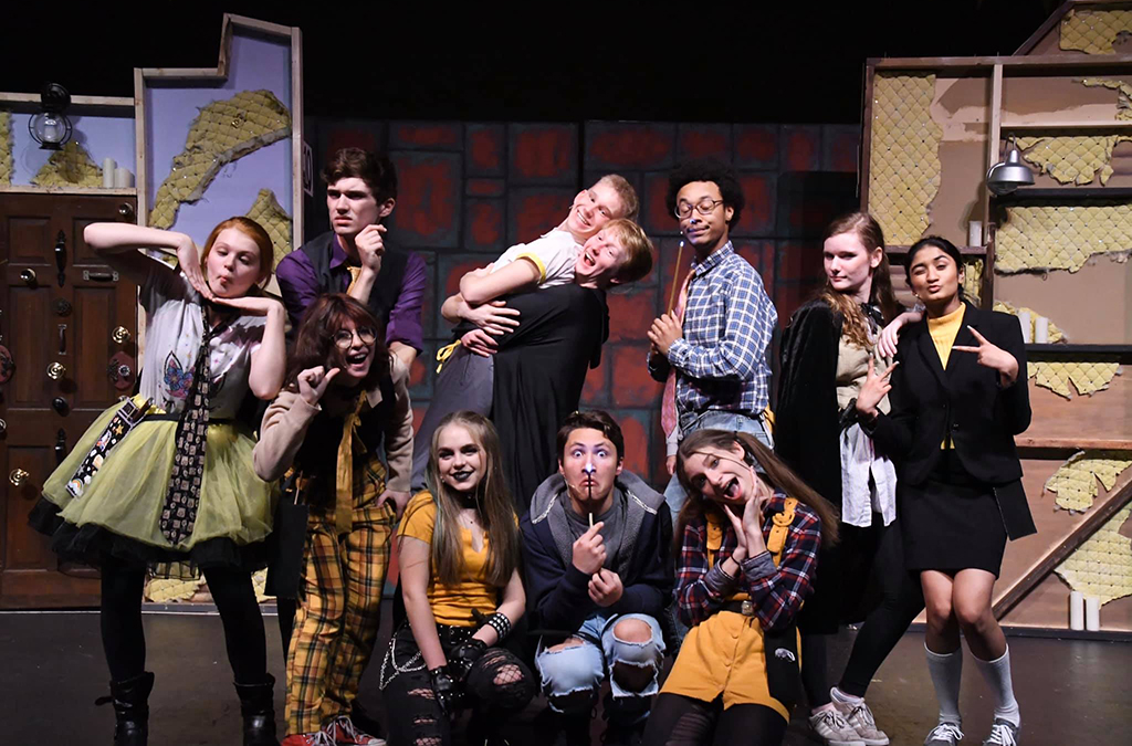 The cast of Puffs at Ardrey Kell High School.