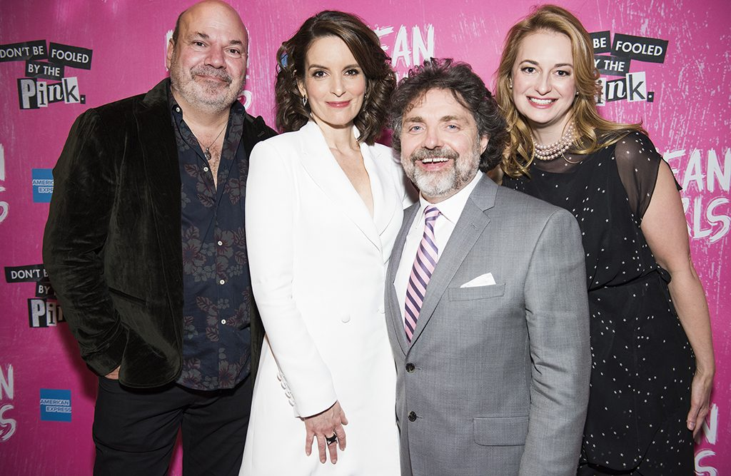 Tina Fey with members of the Mean Girls creative team, from left to right, Casey Nicholaw, Jeff Richmond, and Nell Benjamin.