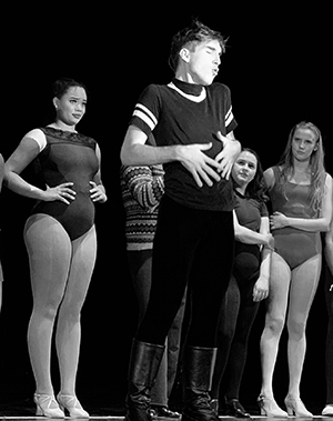 Hailey Thomas, Carson Palmer, and cast members of the Northwest School of the Arts production of A Chorus Line.