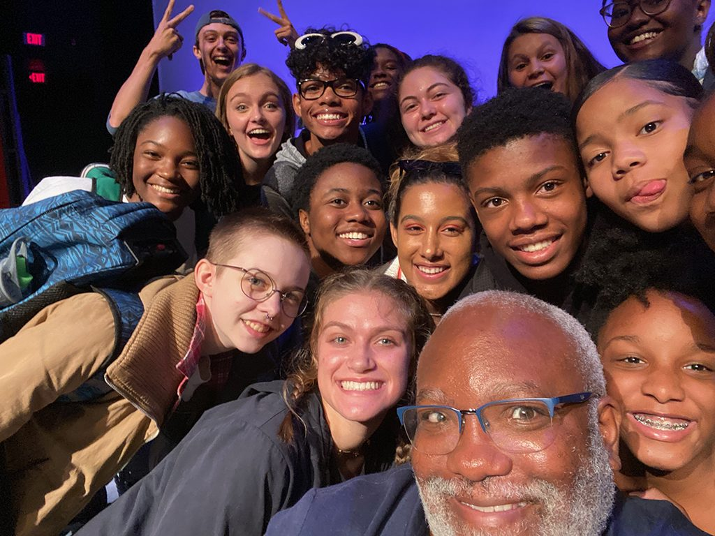 Northwest School of the Arts theatre teacher Corey Mitchell with his students.