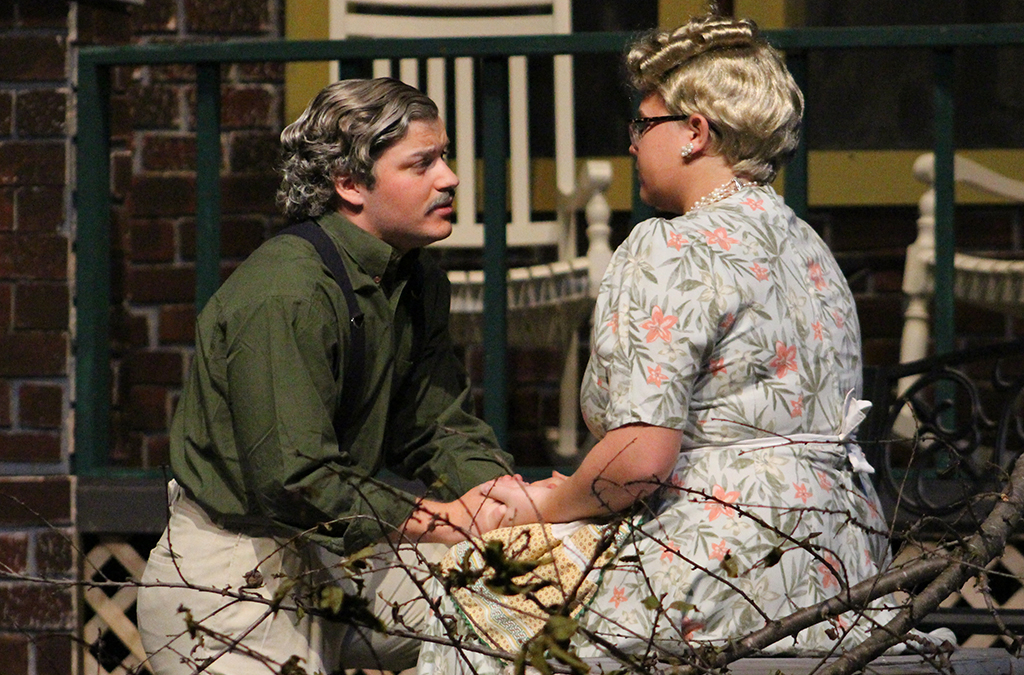Joseph Smith and Tori Kreusch play Joe and Kate Keller in the Paola High School production of All My Sons.