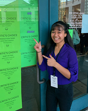 Jeyna Lynn Gonzales preparing for the Critic's Choice Monologues at the Florida District 1 Festival. Photo courtesy of Jeyna Lynn Gonzales.