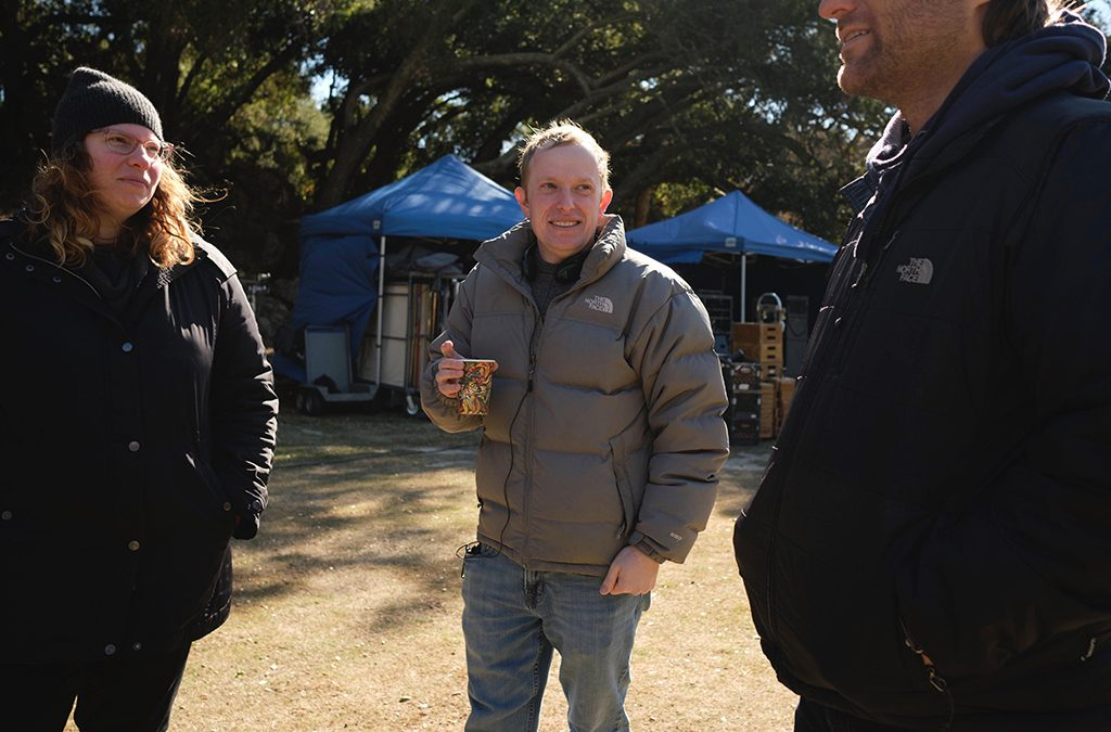 Writer Laura Jacqmin, director Jeff Rosenberg, and producer John Hermann on set for We Broke Up.
