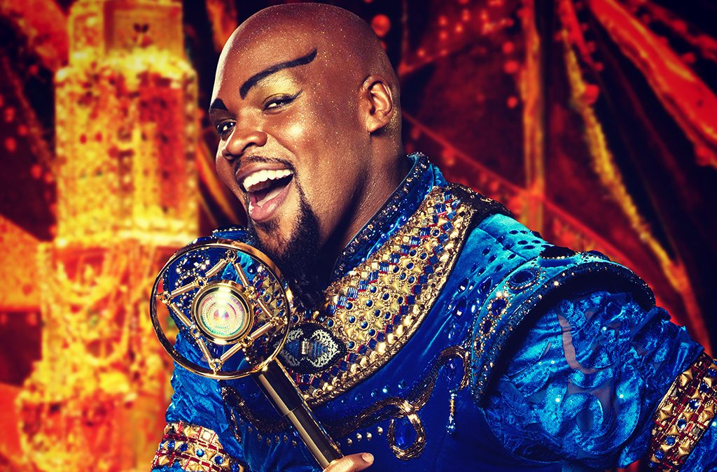 Michael James Scott as Genie in Aladdin.