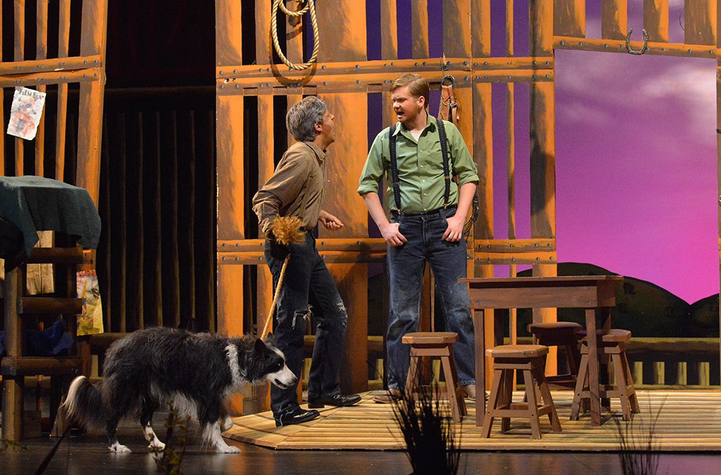 When actors are well rehearsed and know their lines, they can be fully in the moment onstage. Photo from the 2014 Las Vegas Academy of the Arts production Of Mice and Men, presented at the 2014 International Thespian Festival.