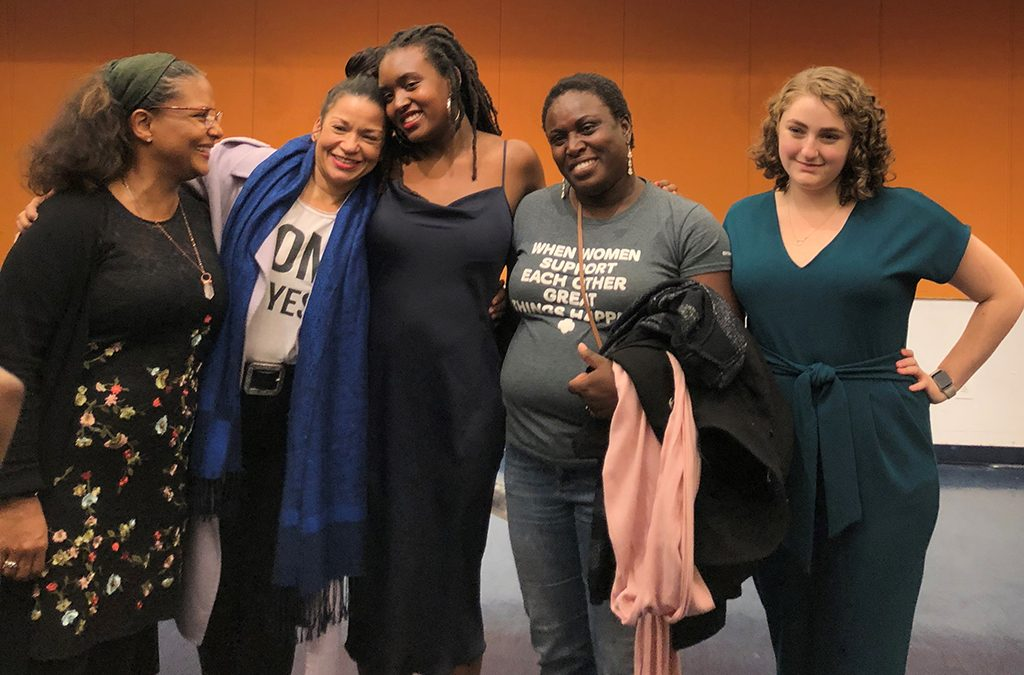 Pharel (center) with her mother, producers, former director, and dramaturg at the 2019 reading of her play Lucky.