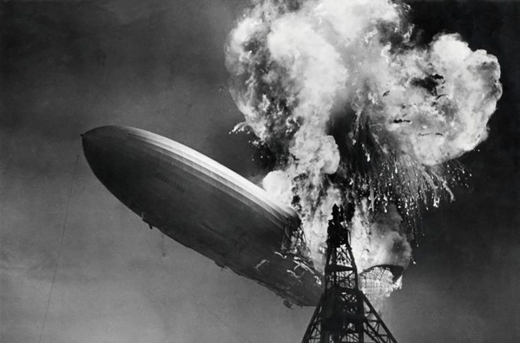 1937: The Hindenburg zeppelin explodes in Lakehurst, N.J.
