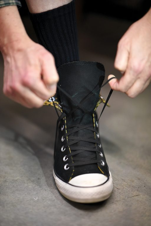 Don't have time to tie your shoes during a quick change? No problem. Replace the actual laces with a piece of elastic and tie them ahead of time. During a quick change, just slip your foot into your pre-tied, extra-stretchy shoe.