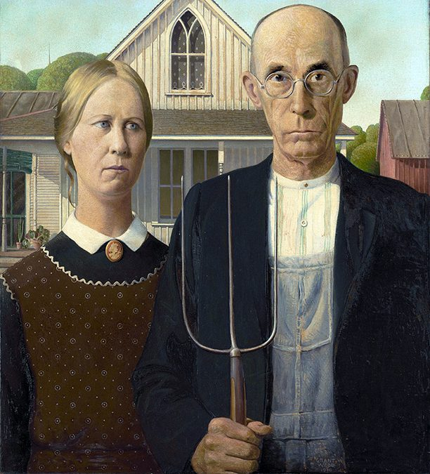 1930: Grant Wood paints American Gothic.