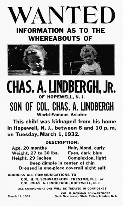 1932: Charles Lindbergh's baby son is kidnapped in Hopewell, N.J.